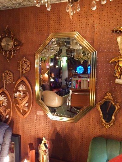 画像1: Gold Wall Mirror