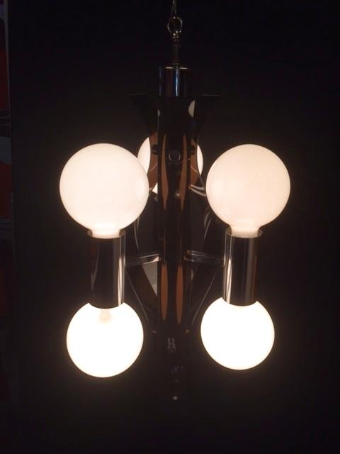 画像1: Chrome Lucite Panel Pendant Light (1)