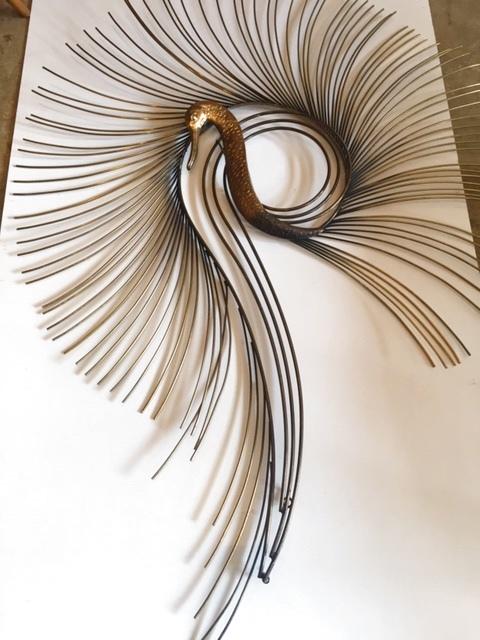 画像1: Peacock Brass Wall Sculpture (1)