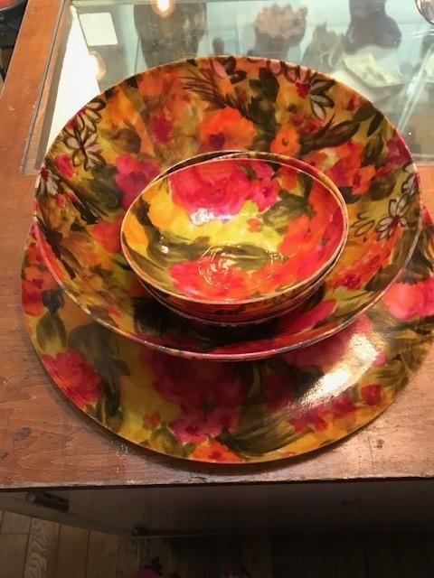 画像1: Vintage Flower Tray&Bowl (1)