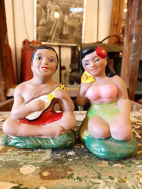 画像1: Vintage Hula Girl & Loco Boy Dolls (1)